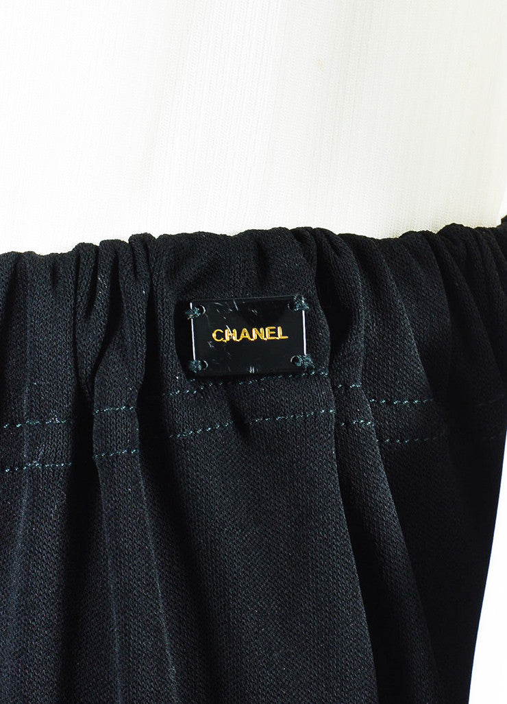 Chanel Black Jersey Ruffle Hem Drawstring Maxi Peasant Skirt Detail