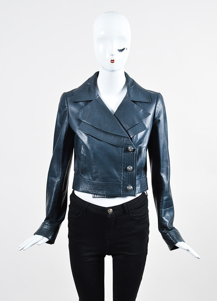 Blue-Grey Chanel Calf Leather Double Lapel Cropped Jacket Frontview 2