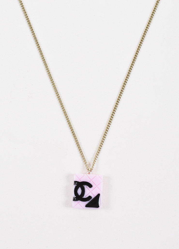 Chanel Black, Gold Toned, and Pink Acrylic and Enamel 'CC' Cambon Pendant Necklace Detail