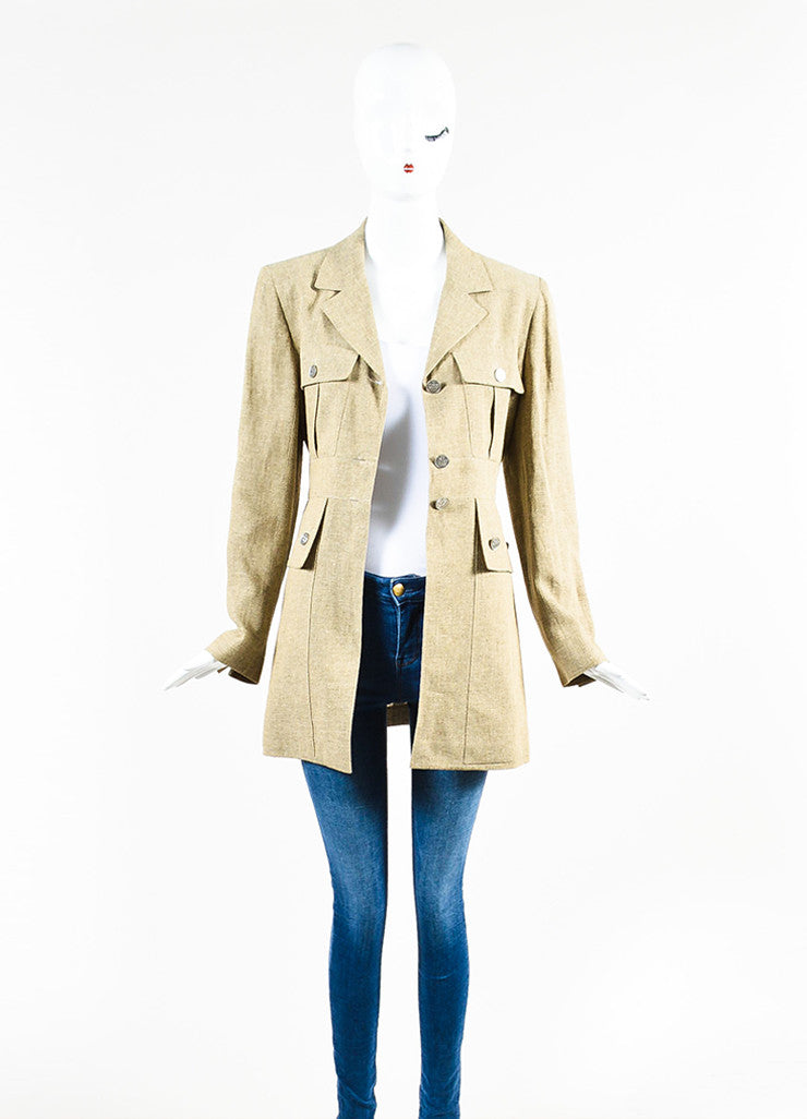 Chanel Beige Linen Cargo Pocket Long Tailored Jacket Frontview