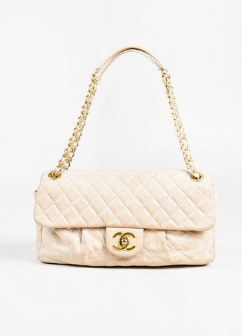 "Chanel Beige Leather ""Chic Quilt"" Gold Toned Chain Link Flap Shoulder Bag Frontview"
