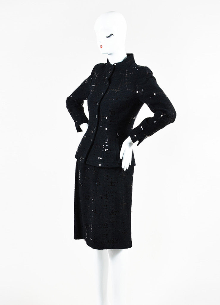 Chanel Black Cotton and Wool Tweed Sequined Blazer Skirt Suit Sideview