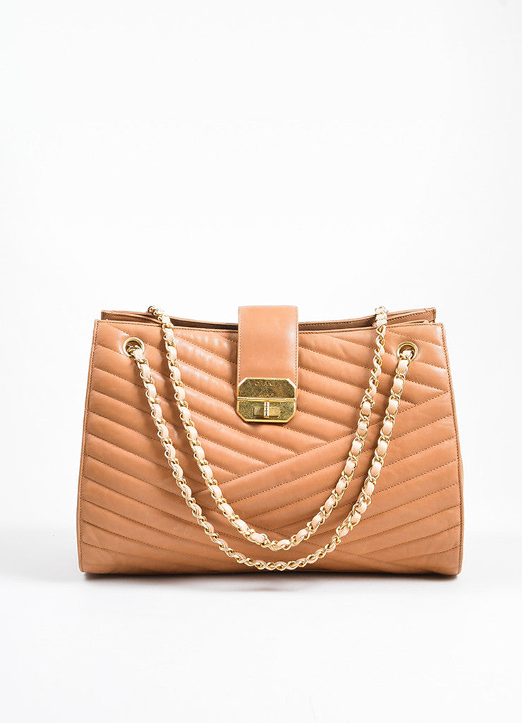 "Blush Tan Leather Gold Toned Chevron Quilted Chain Chanel ""Accordion"" Tote Bag Frontview"