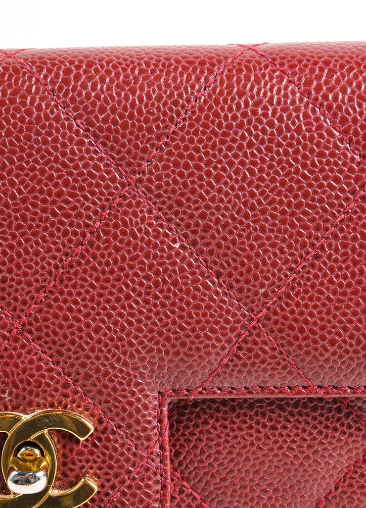 Chanel Burgundy Red and Gold Toned Caviar Leather Quilted Classic Flap Bag Detail 3