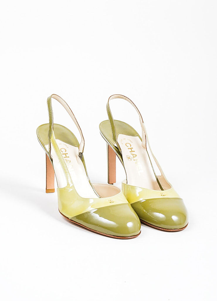 Green Chanel Patent Leather Round Toe Slingback Pumps Frontview