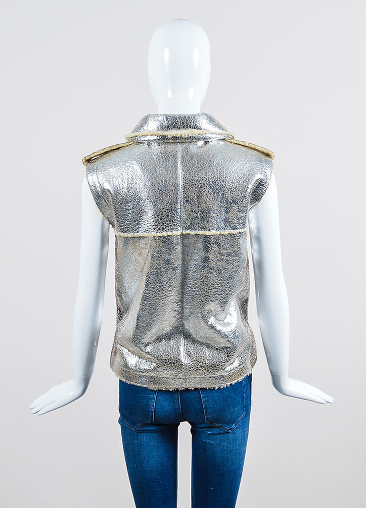 Metallic Silver Lambskin Leather Shearling Pocket Chanel Vest Backview