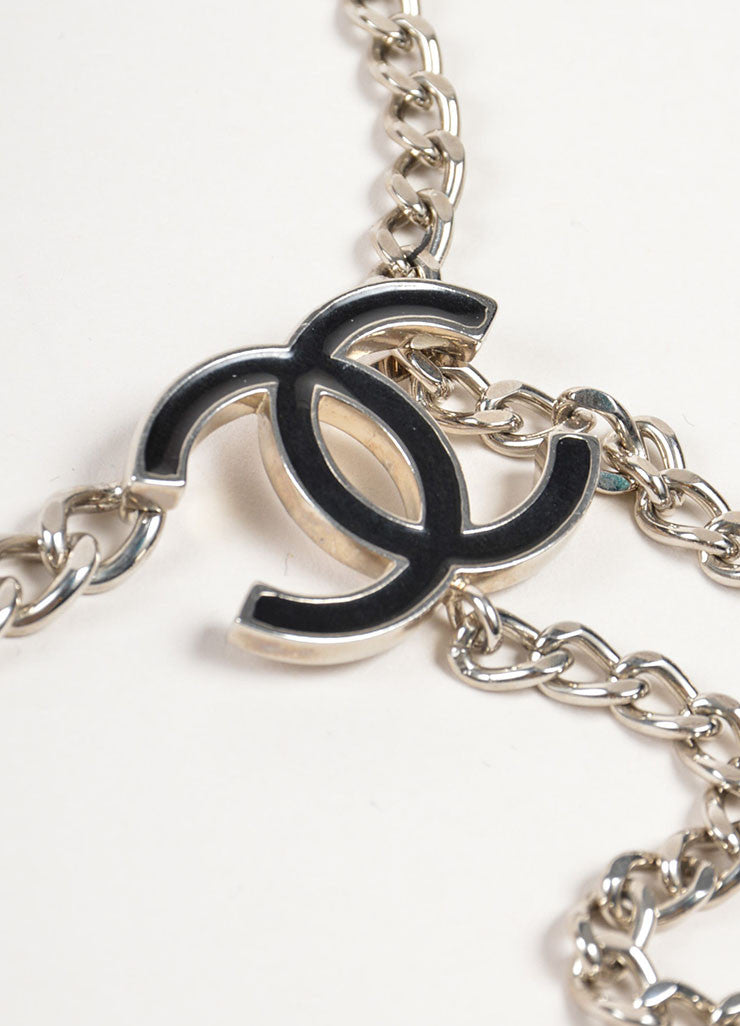 Chanel Silver Toned Metal and Black Enamel Chain Link 'CC' Belt Necklace Brand