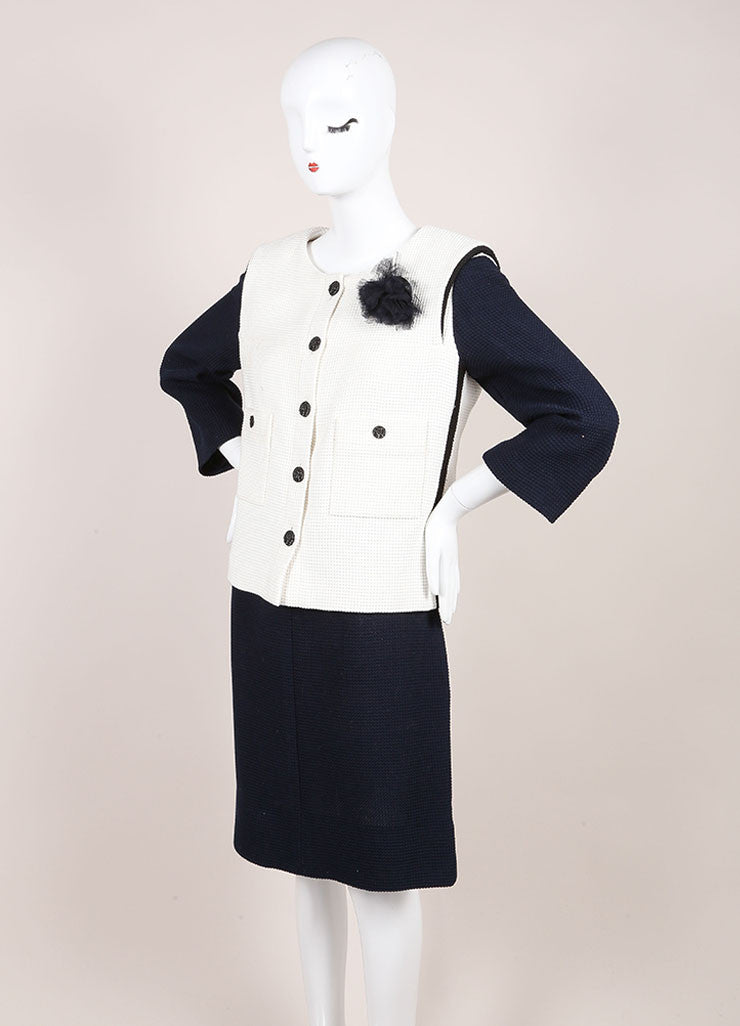 Chanel Navy and Cream Woven Color Block Crop Sleeve Jacket and Pencil Skirt Suit Sideview