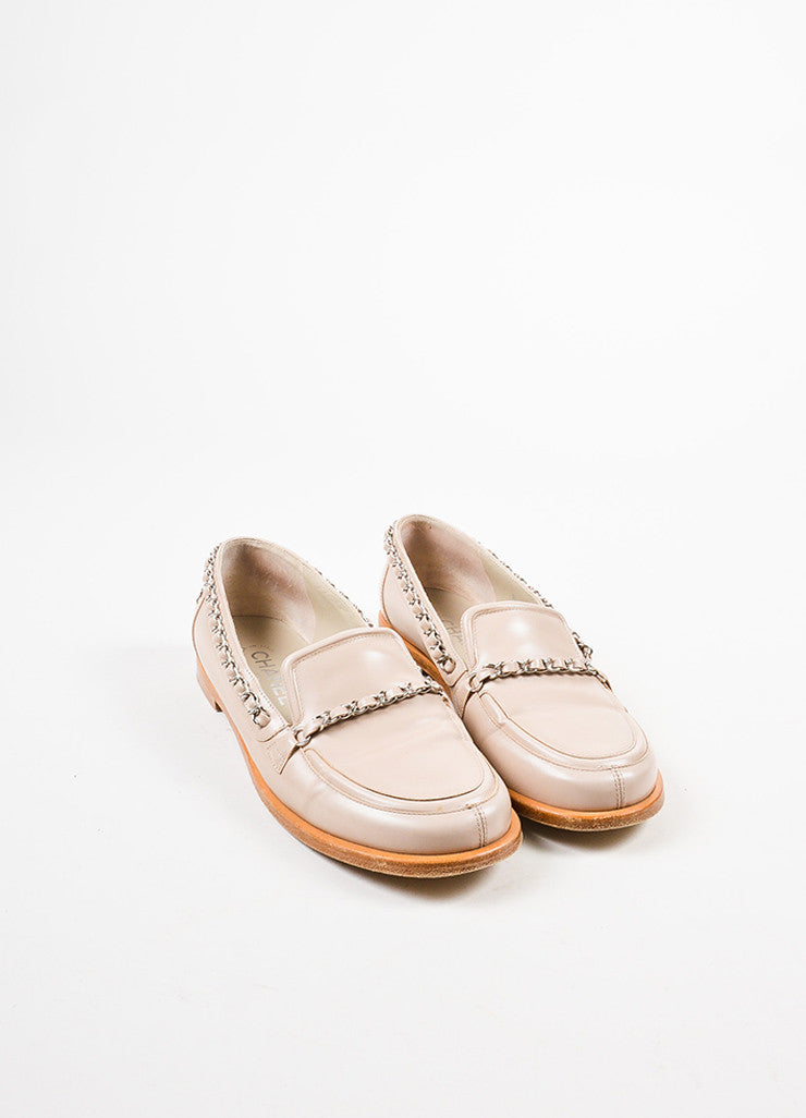 Chanel Pale Pink, Tan, and Silver Toned Leather Chain Trim Loafers Frontview