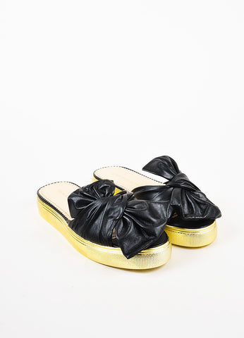"Charlotte Olympia NIB Black Gold Leather Bow ""Poolside"" Flatforms"