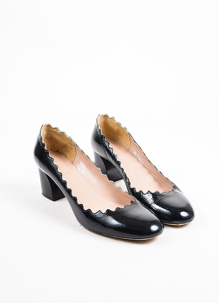 "Chloe Black Patent Leather ""Lauren"" Scalloped Edge Chunky Heel Pumps Frontview"