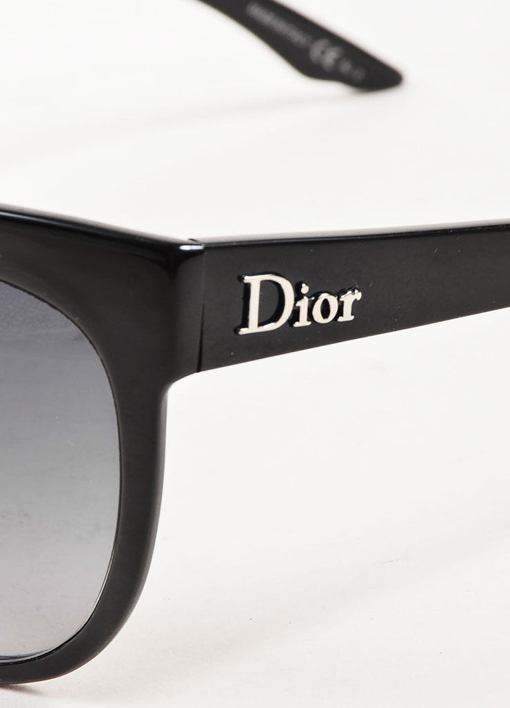 "Christian Dior Black Oval Cat Eye ""Dior Paname"" Sunglasses Detail"
