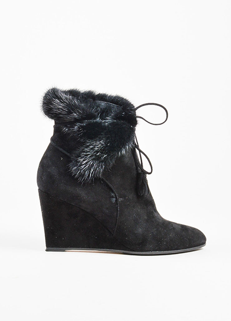Christian Dior Black Suede Fur Lined Wedge Booties Sideview