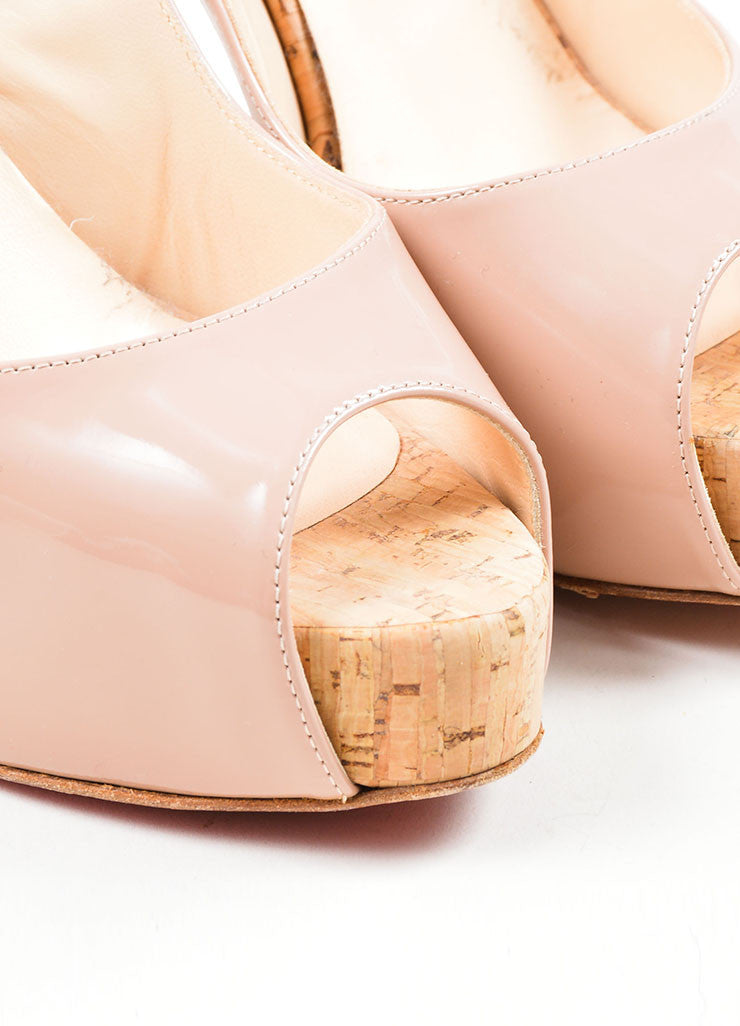 "Nude Christian Louboutin Patent Leather Cork ""So Private"" Pumps Detail"