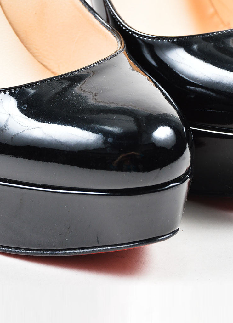 "Black Christian Louboutin Patent Leather ""Bianca 140"" Platform Pumps Detail"