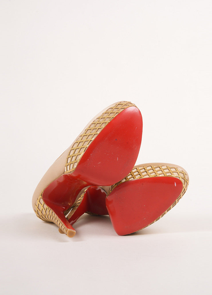 "Christian Louboutin Champagne and Gold Satin and Woven Leather Trim ""Bianca"" Pumps Outsoles"