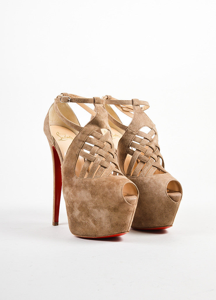 Beige Christian Louboutin Suede Strappy Carlota Pumps Front