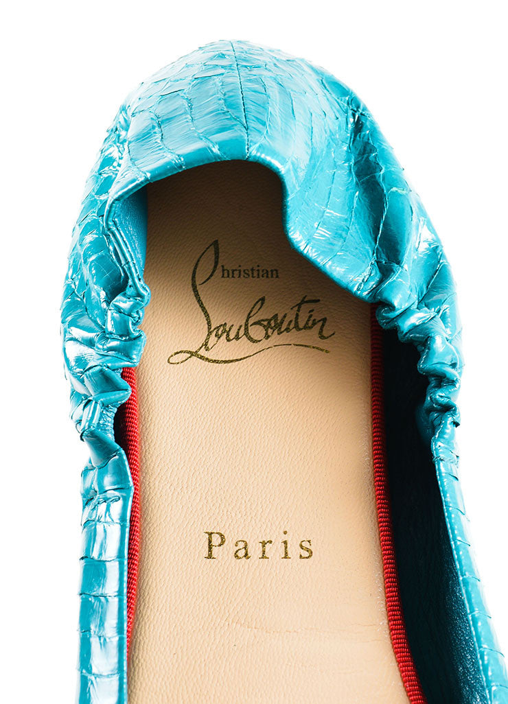 Christian Louboutin Teal and Black Riviera Watersnake Air Loubi Ballet Flats Brand