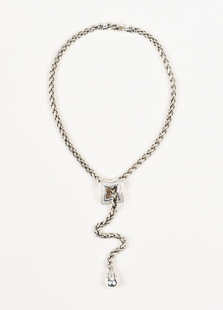 David Yurman Sterling Silver Diamond Quatrefoil Lariat Chain Necklace Frontview