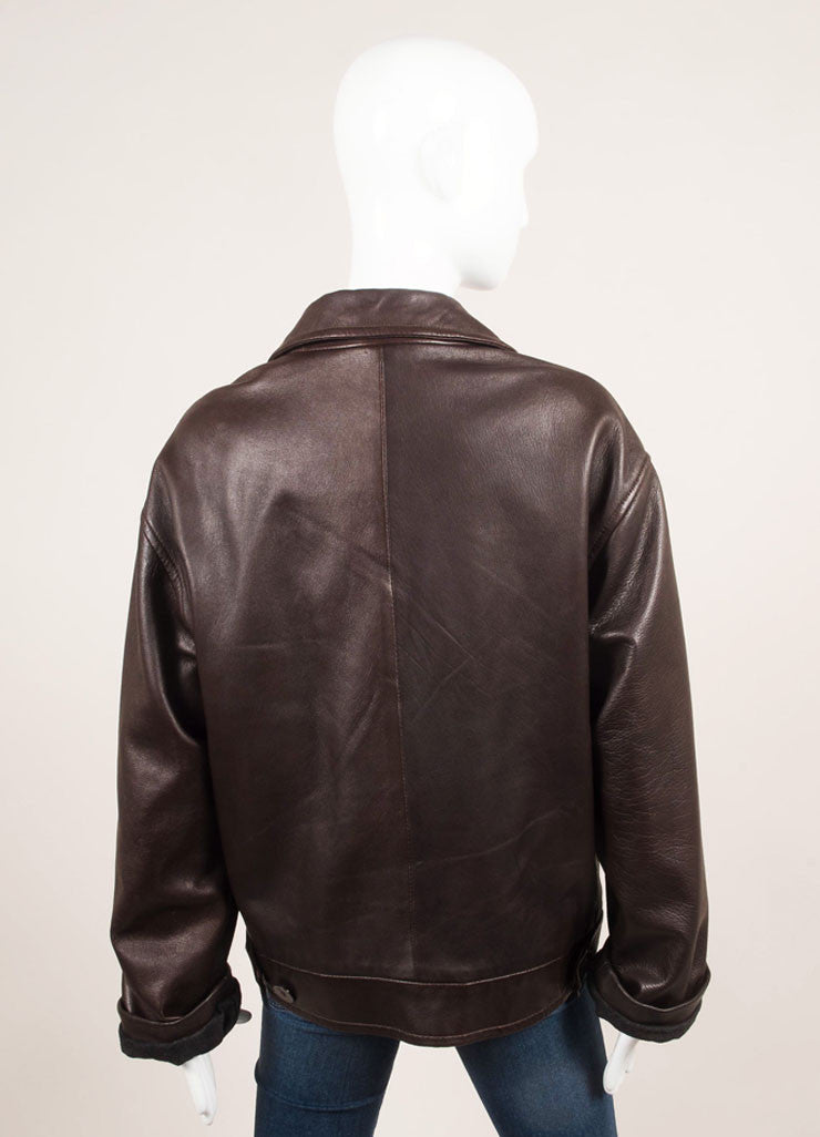 Donna Karan Dark Brown Leather Double Breasted Long Sleeve Jacket Backview