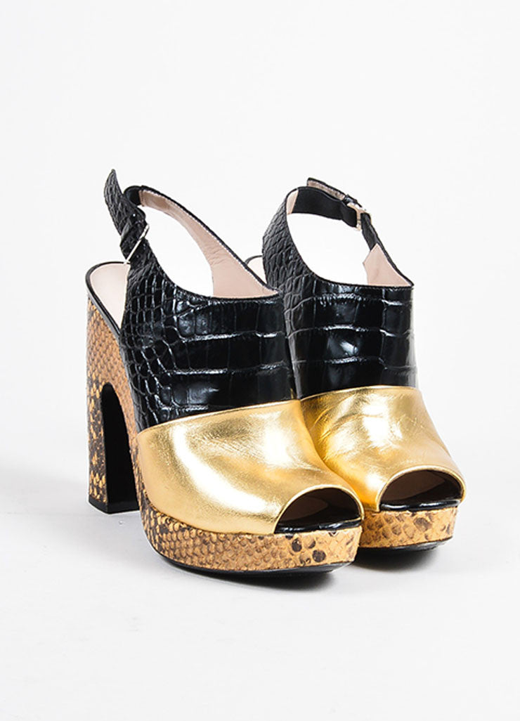 Dries Van Noten Gold and Black Leather Snake Croc Embossed Platform Heels Frontview