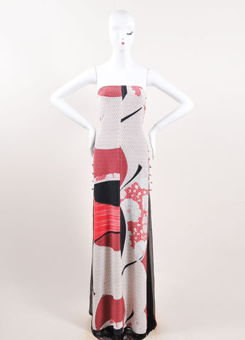 Emilio Pucci Black, Red, and Multicolor Silk Floral Strapless Maxi Dress Frontview