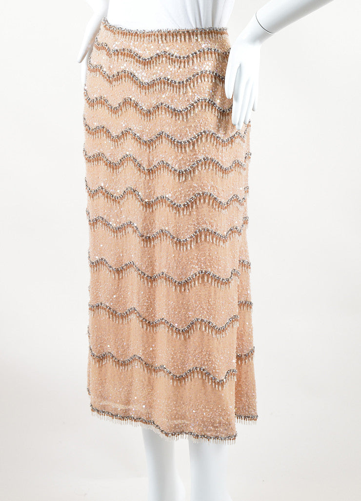 Escada Beige Silk Sequin Embellished Wavy Beaded Midi Skirt Sideview