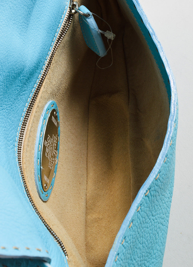"Fendi Blue Leather Stitched ""Baguette 635"" Shoulder Bag Interior"