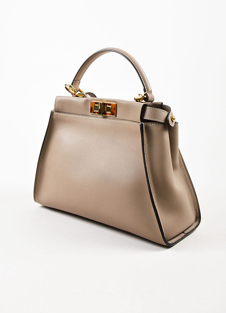 "Fendi Taupe Brown Leather Tortoiseshell Gold Toned ""Peekaboo"" Satchel Bag Sideview"