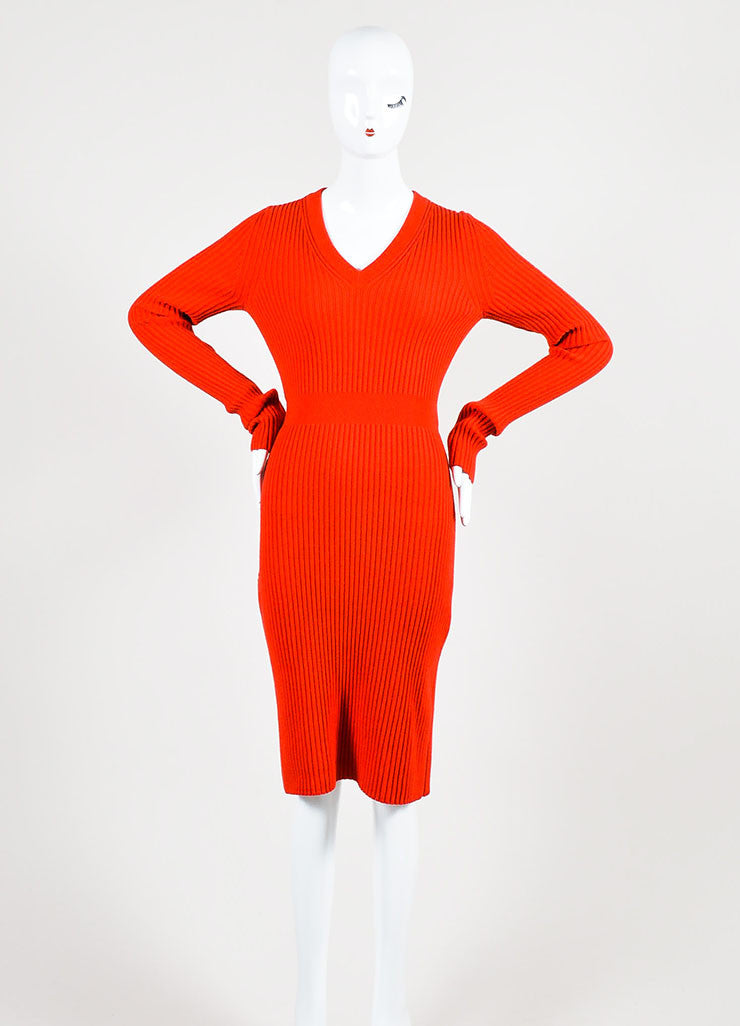 "Fendi ""Geranium"" Red Cashmere Rib Knit Long Sleeve V-Neck Sweater Dress Frontview"