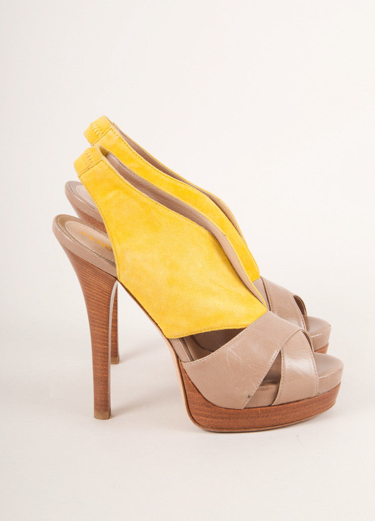 Fendi Yellow and Tan Suede Leather Cut Out Platform Sandals Sideview