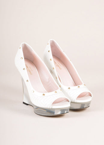 Gianni Versace White Patent Leather Studded Lucite Wedges Frontview