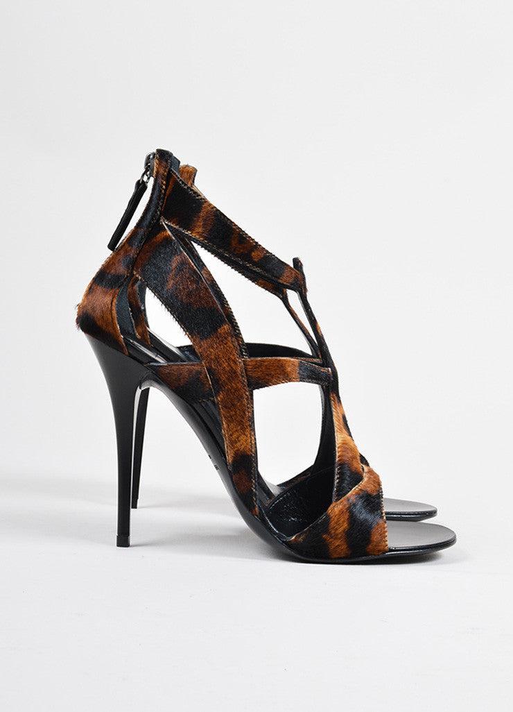 Giuseppe Zanotti Brown Pony Hair Leopard Print Strappy Heeled Sandals Sideview