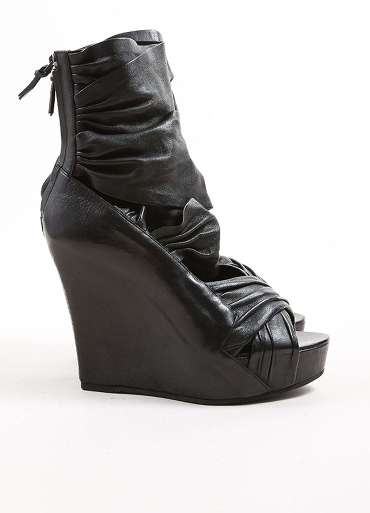 Givenchy Black Leather Wrapped Wedge Sandals Sideview