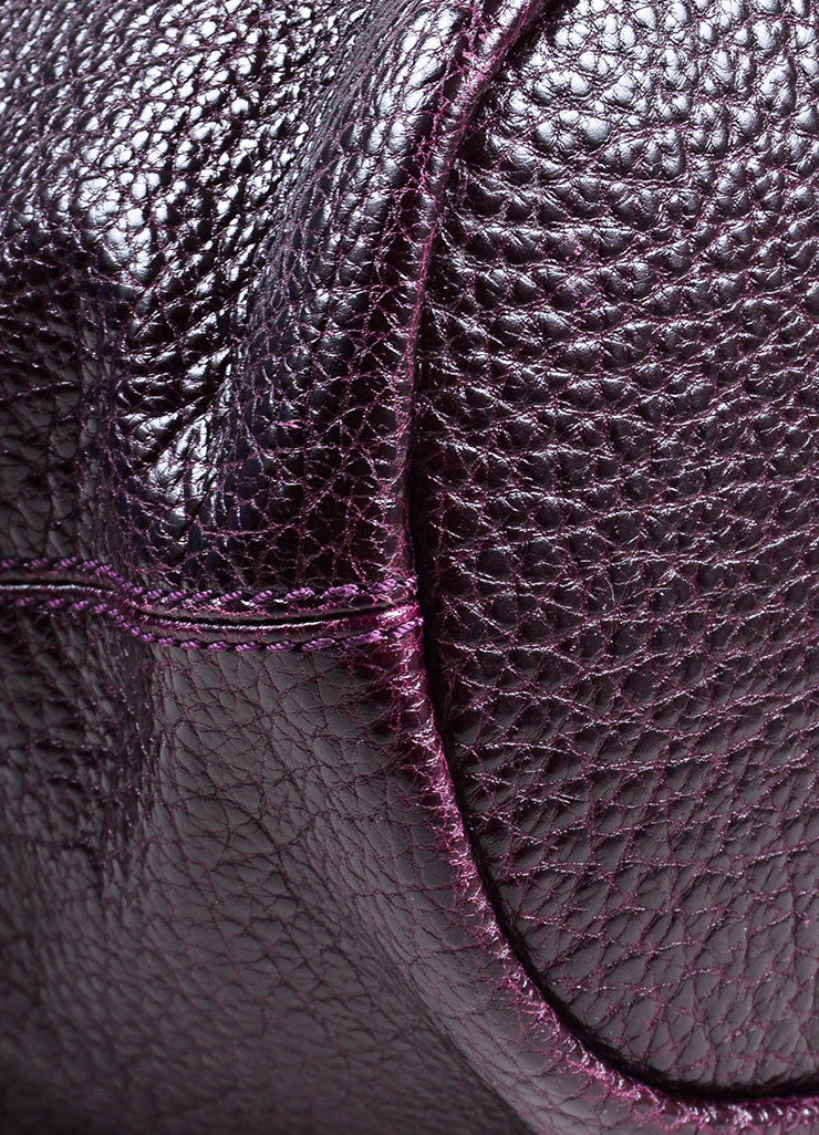 "Givenchy Eggplant Pebbled Patent Leather ""Large Nightingale"" Satchel Bag Detail"