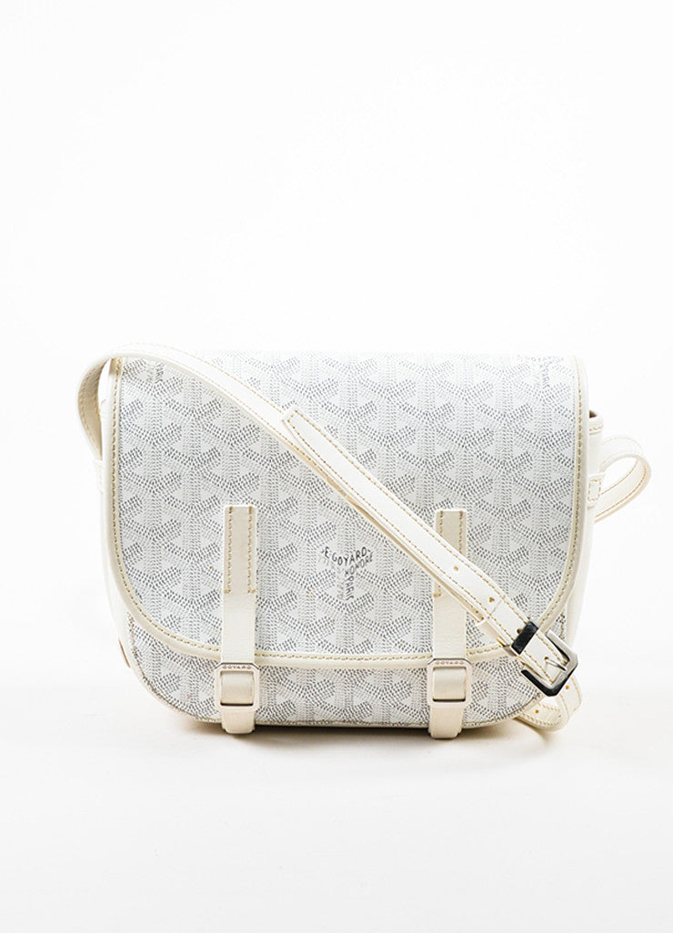 "Goyard White Goyardine Coated Canvas ""Belvedere PM"" Leather Crossbody Bag Frontview"