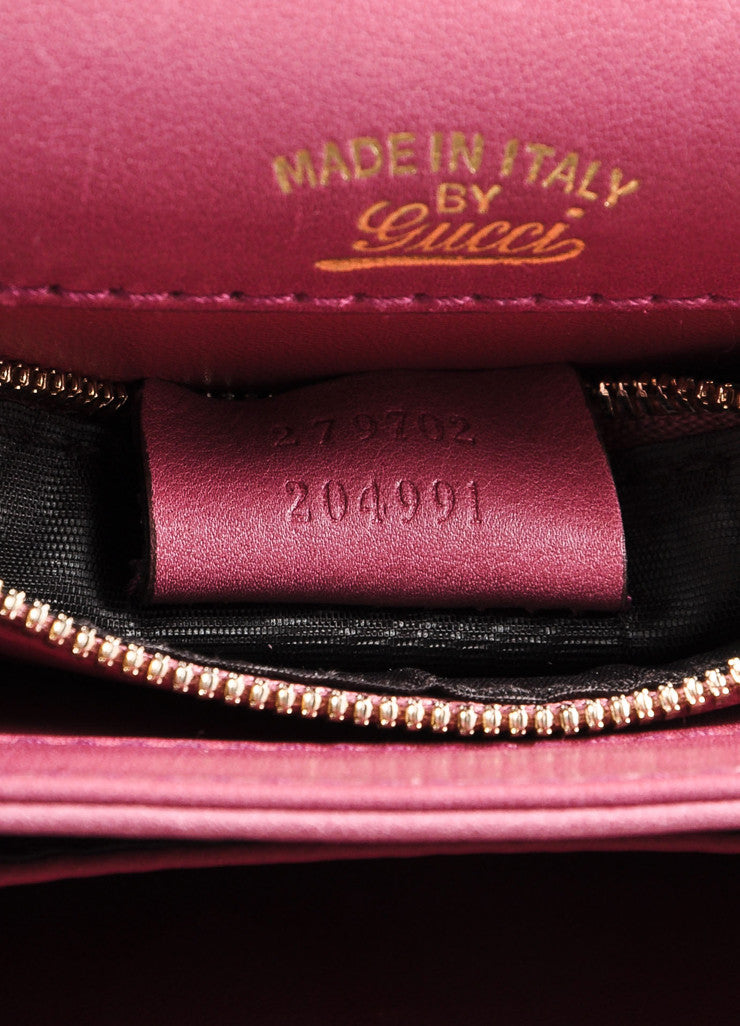 Gucci Pink 'GG' Logo Clasp Leather Crossbody Flap Bag Brand 2