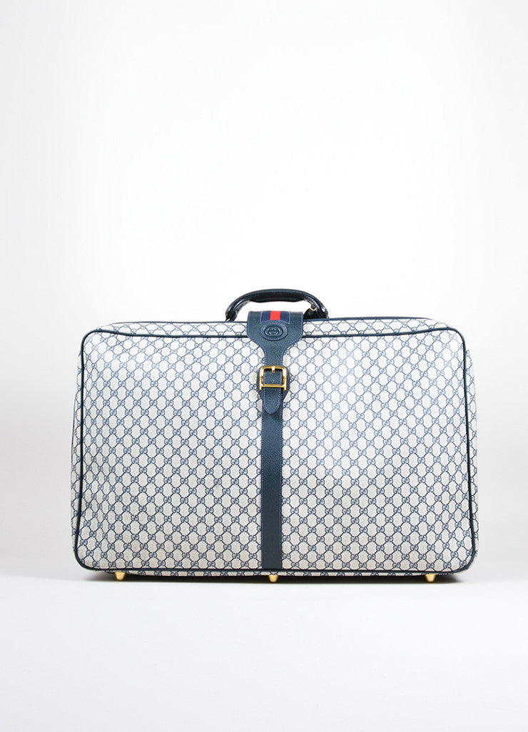 Blue, Cream, and Red Gucci Coated Canvas and Leather 'GG' Monogram Luggage Bag Frontview