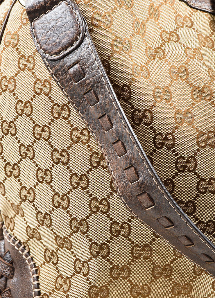"Gucci Brown and Beige Canvas and Leather Monogram ""Large New Jackie"" Hobo Bag Detail 2"