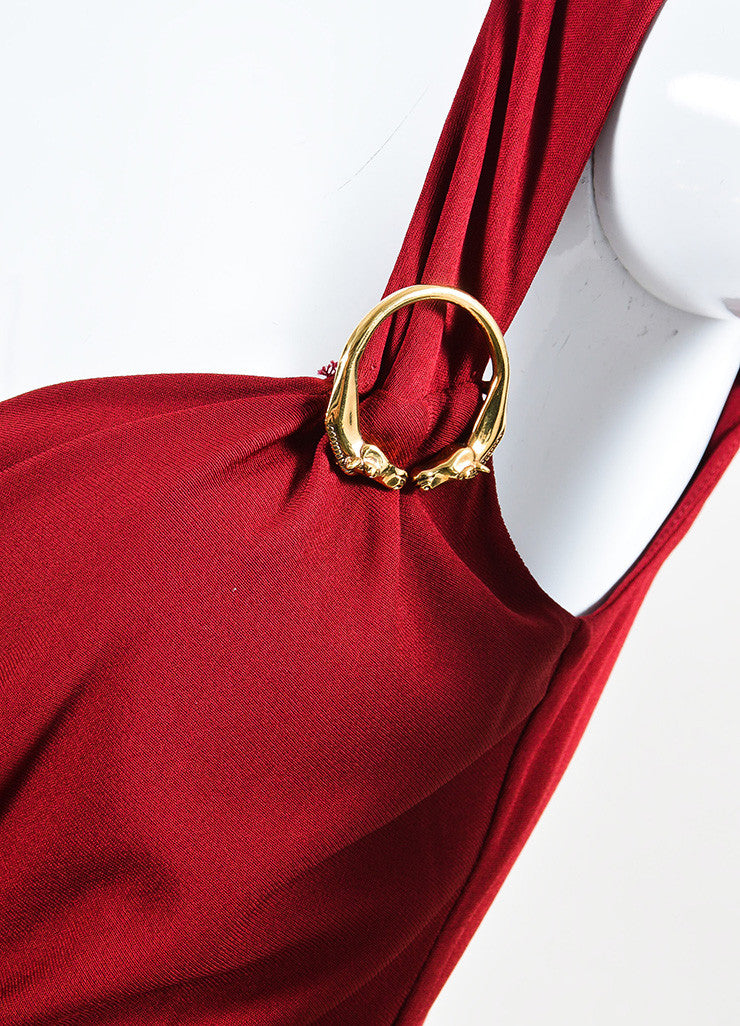 Gucci Maroon Red Jersey Gold Toned Horse Pin Sleeveless Dress Detail