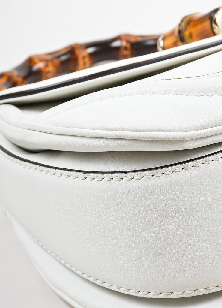 White Gucci Leather Bamboo Handle Shoulder Strap Tassel Bag Detail