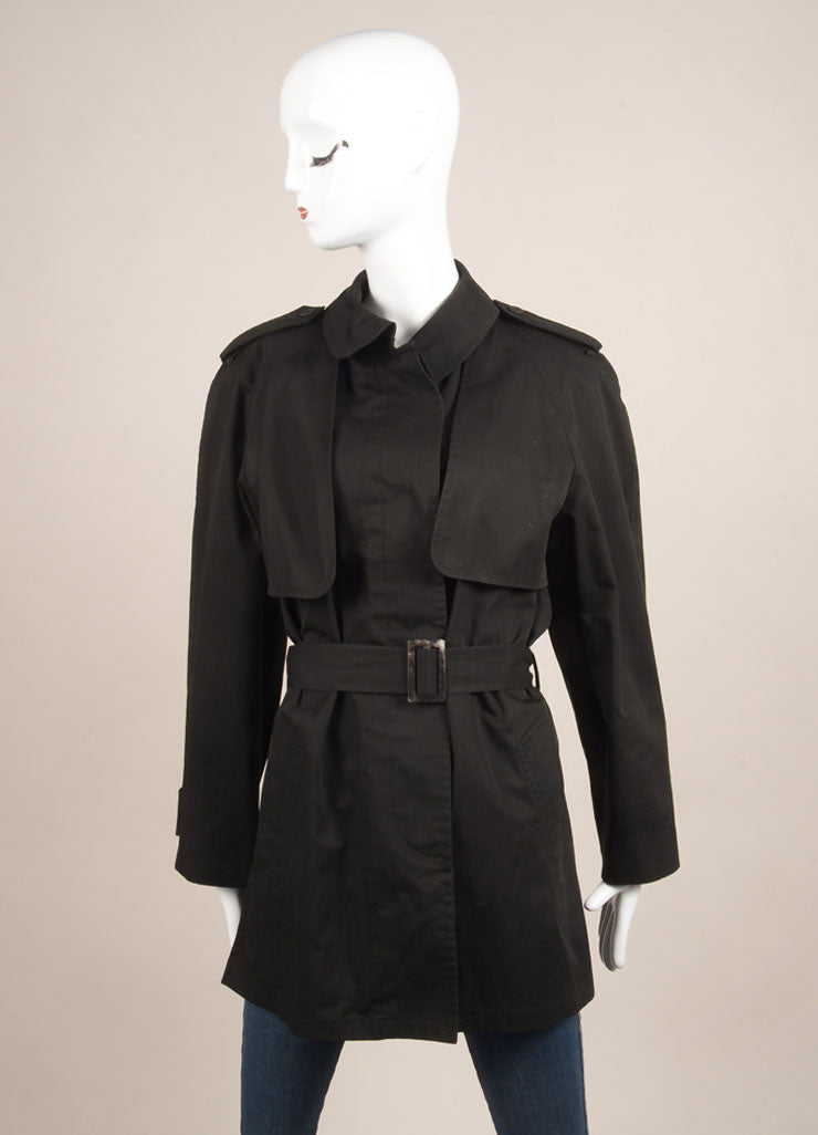Hermes Black Canvas Belted Convertible Long Sleeve Jacket Vest Frontview