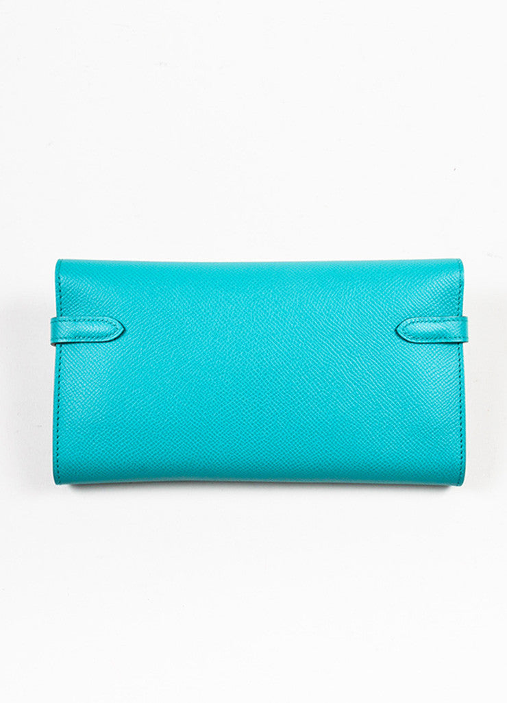 "Hermes Bleu Paon Teal Epsom Leather ""Kelly"" Long Money Holder Wallet Backview"