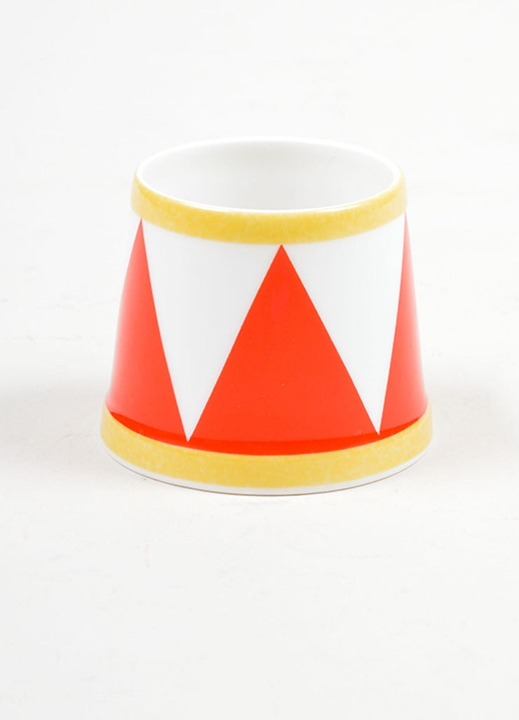 "White, Red and Yellow Hermes Porcelain ""Le Tambour"" Circus Print Egg Holder Front"