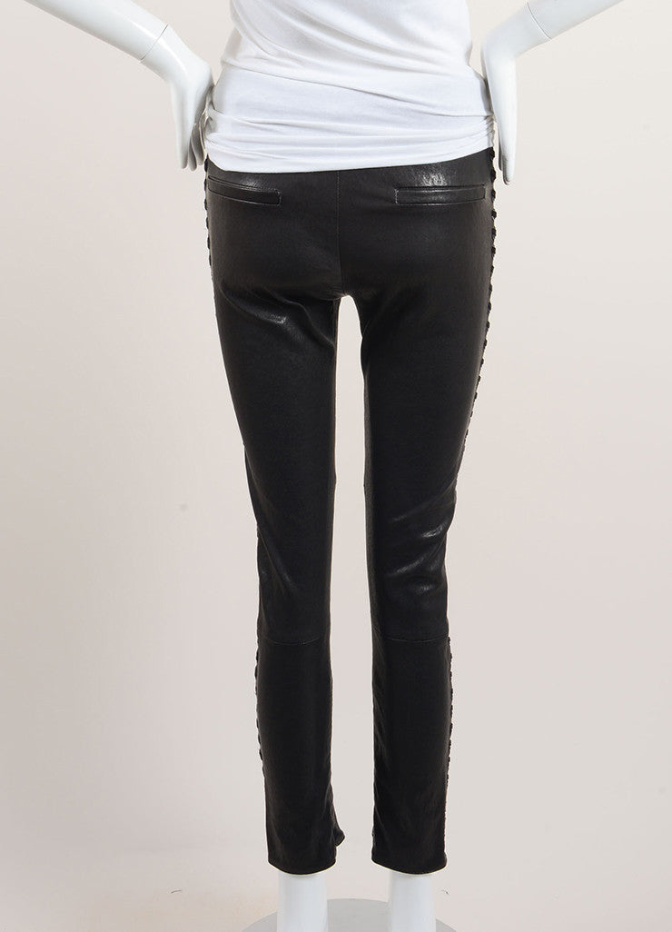 "Isabel Marant Black Lamb Leather Whipstitch ""Dayton"" Pants Backview"
