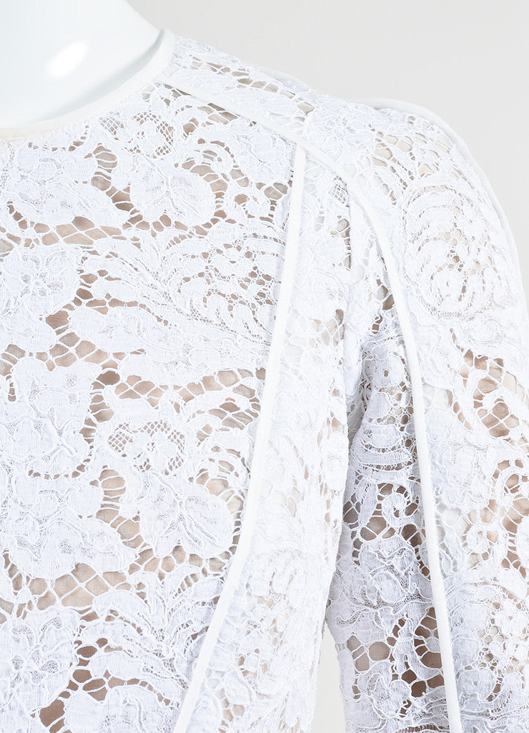 White and Nude J. Mendel Embroidered Floral Lace Long Sleeve Peplum Top Detail
