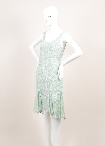 Jason Wu New With Tags Green and White Silk Sleeveless Handkerchief Hem Dress Sideview
