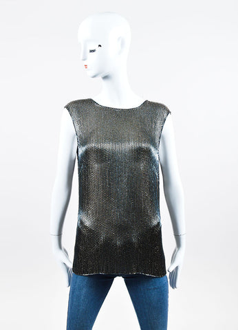 Dark Grey and Gold Jason Wu Silk Beaded Sequin Embellished Sleeveless Top Frontview