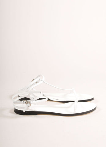 Jil Sander New In Box White Leather T-Strap and Ankle Strap Flat Sandals Sideview