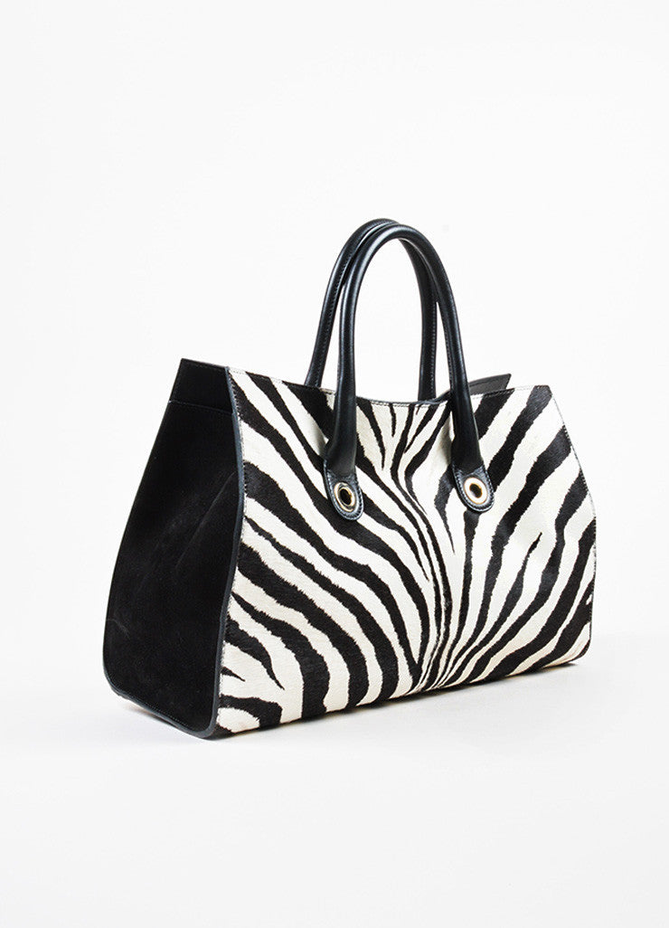 "Black and White Jimmy Choo Pony Hair Zebra Print ""Riley"" Tote Bag Side"